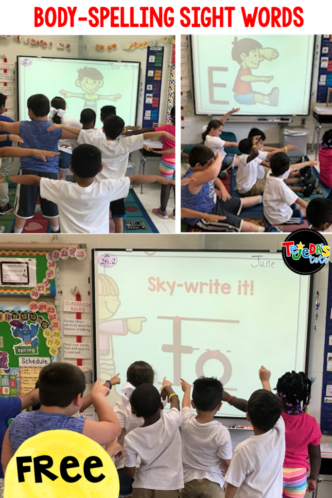 Many kids struggle to build sight word fluency. Using their bodies to spell words is a great way to incorporate movement into sight word instruction! This free body-spelling PowerPoint helps students learn sight words using visual, auditory, reading, writing, and kinesthetic methods! They'll read the words in context, say and spell, sky-write, body-spell, find them, and write them! #tejedastots #sightwords