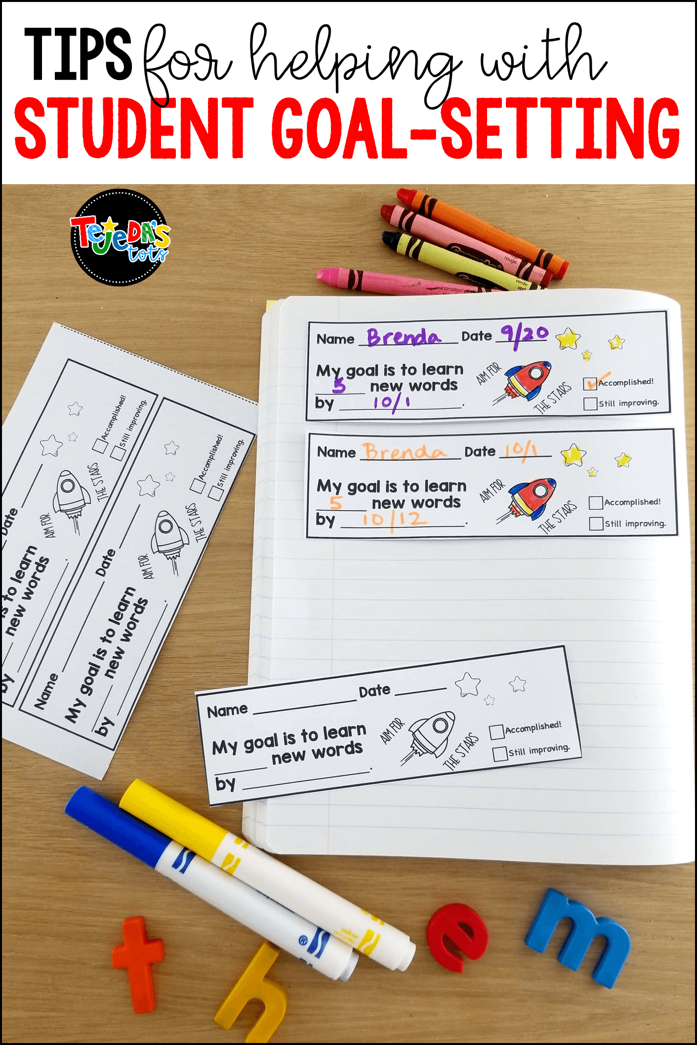 Allowing students to set their own goals is powerful! This blog post shares benefits, tips and ideas for boosting student success with goal-setting! These sight word slips help students set and meet goals for learning sight words. #tejedastots #sightwords #studentgoalsetting