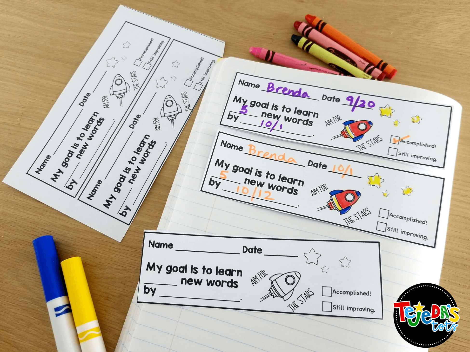 Allowing students to set their own goals is powerful! This blog post shares benefits, tips and ideas for bossting student success with goal-setting! These sight word slips help students set and meet goals for learning sight words. #tejedastots #sightwords #studentgoalsetting