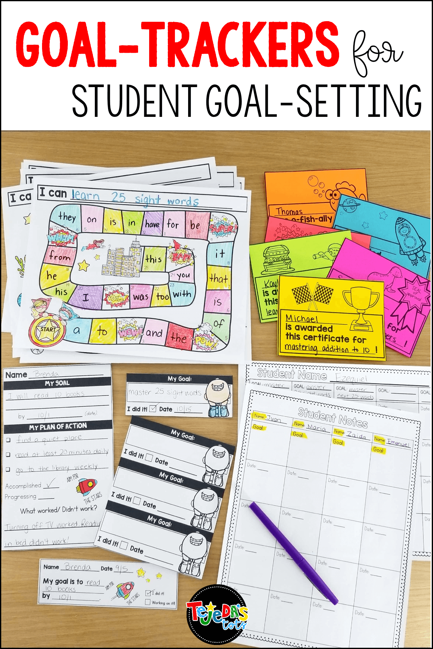 Helping your students set their own goals can be a powerful tool in your primary classroom! This resource makes it easy for kindergarten, first, second, and third grade students to set goals and keep track of their progress. Goal-setting slips, goal-tracking boards in 6 themes, certificates, and teacher data sheets to record progress are all included. #tejedastots #studentgoalsetting