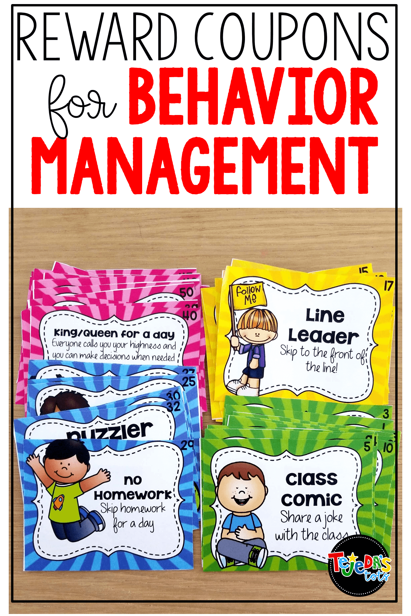 Say goodbye to your prize box and hello to reward coupons! These color-coded coupons are perfect motivation for behavior management. Kids earn hole-punches throughout the month and redeem punch cards for coupons. Such a great incentive for behavior! #tejedastots #behaviormanagement #rewardcoupons