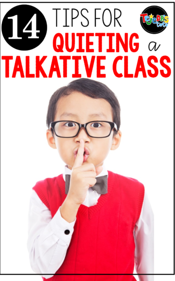 Is your class chatty? Do you have students that get a little out of control after a fun activity, or get easily distracted? It's hard for many kids to sit quietly and a little chatter can quickly turn into a loud roar! Read this blog post for 14 quick tips on getting your students' attention quickly, without raising your voice, and get your talkative class back on track. #tejedastots