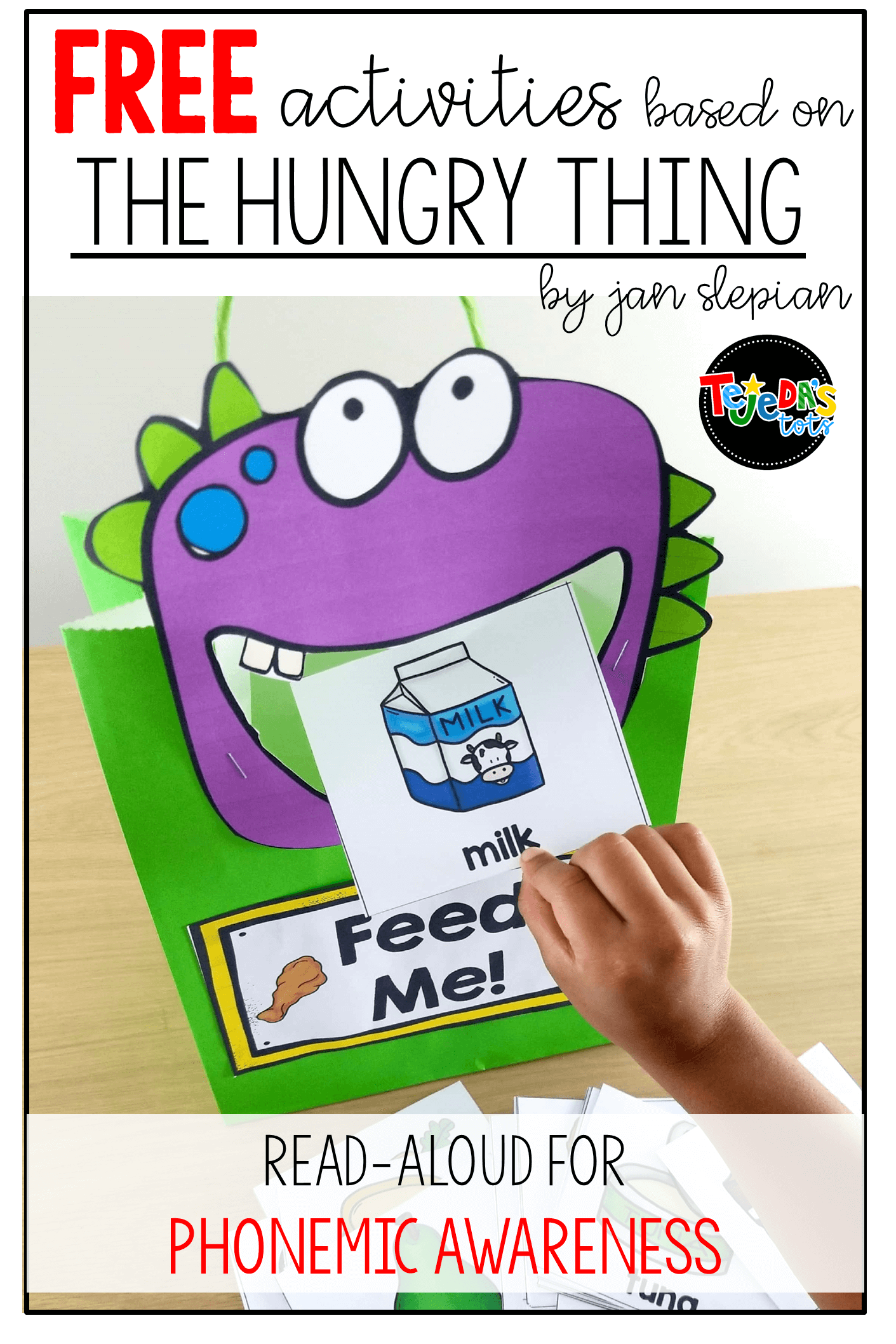 I just love to read this book at the beginning of the school year. It's perfect for phonemic awareness and is such a cute, fun story! Read this blog post for free activities to go with the story and how to get your kids to change beginning sounds and practice rhyming with it. #tejedastots