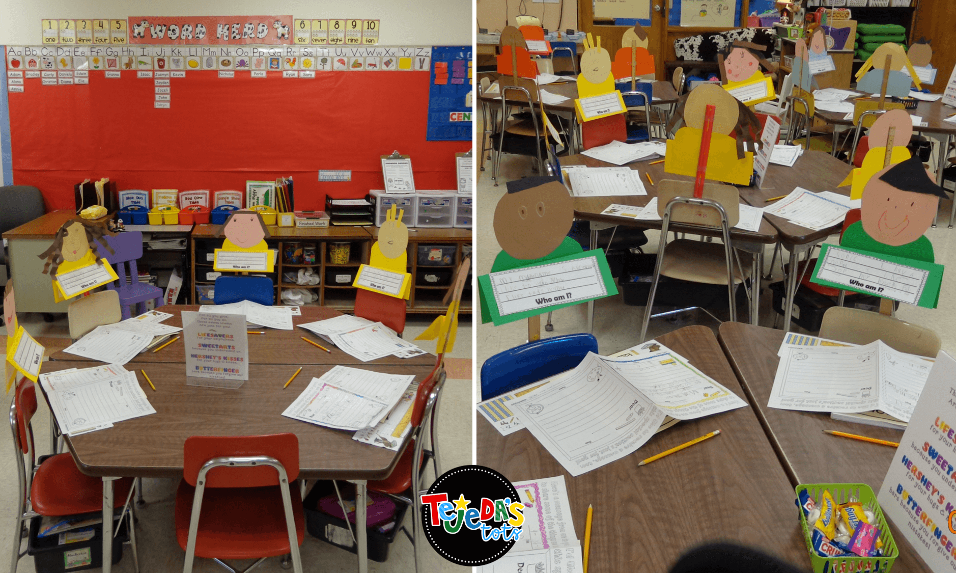 Stand-in students! So cute for Meet the Teacher Night! Have kids create themselves and use a ruler and tape to attach to seats. Parents try to find their child to find their seats. #tejedastots