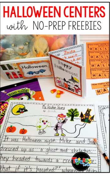 I love these having centers at my Halloween or fall parties. Here are some ideas for easy, free, no-prep centers that are meaningful and fun! Perfect for the month of October! #tejedastots #halloweencenters #halloweenactivities
