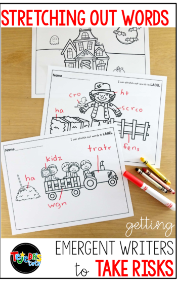Help your emergent writers take spelling risks with this 2-step labeling method. We use it as a 5-minute warm-up to our independent writing sessions. #tejedastots