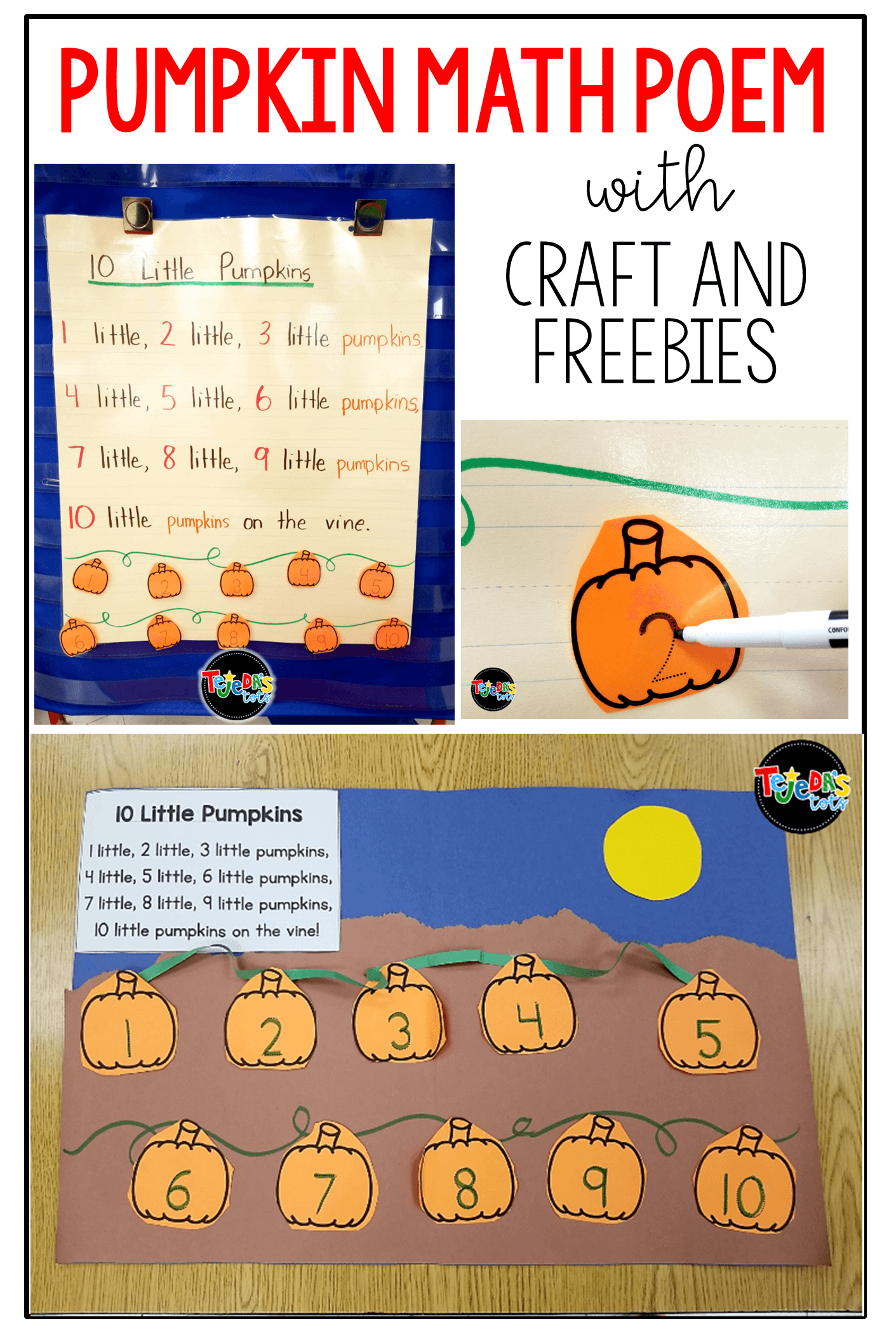 FREE Pumpkin poem and craft for counting 1-10. Perfect for a math center. Students order the numbered pumpkins. #tejedastots #pumpkinmath