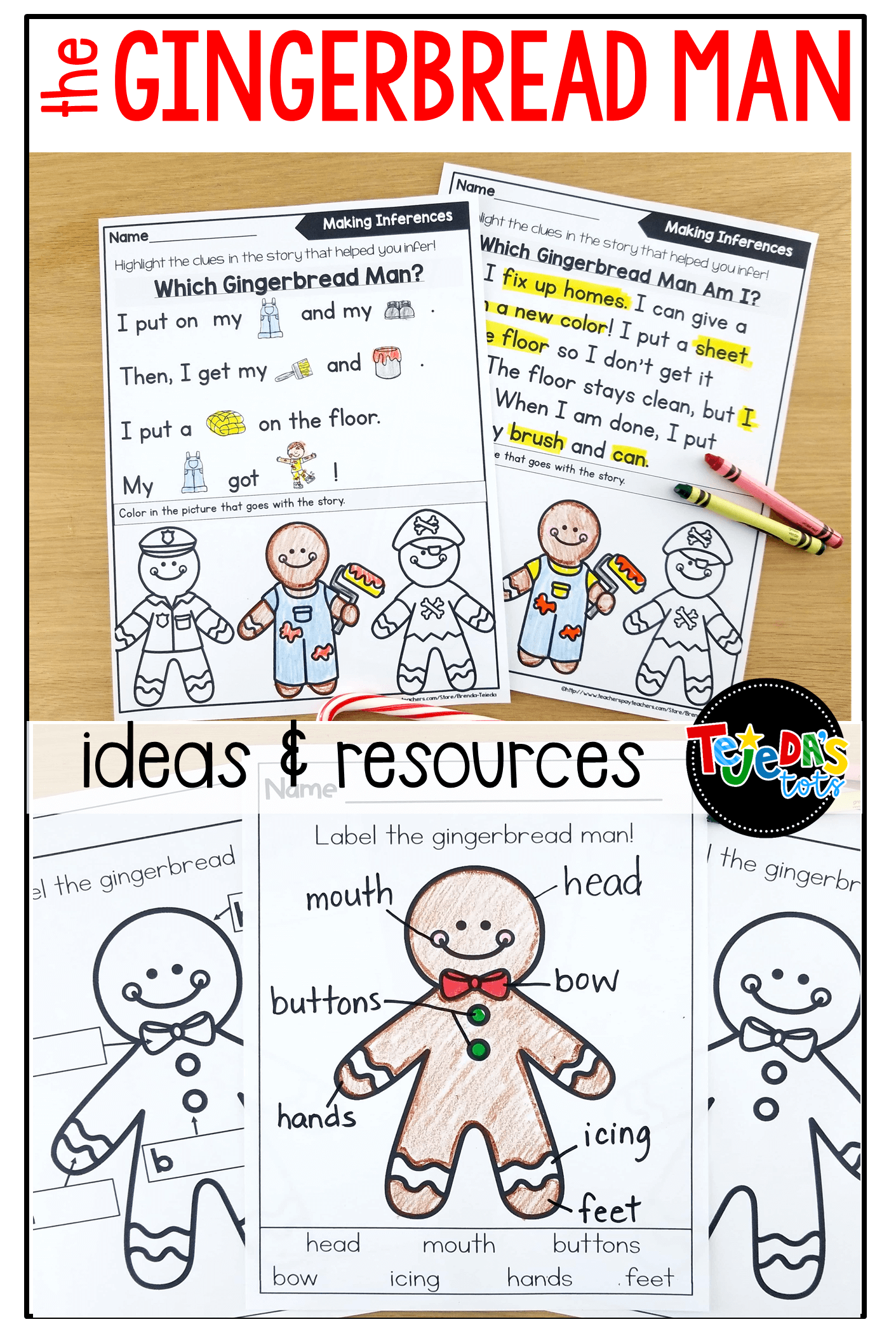 Ideas and resources for a fun gingerbread man unit, including comparing and contrasting different versions, retelling, centers, mini-books, and more! #tejedastots #gingerbreadmanactivities