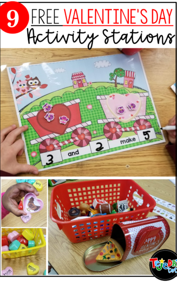 FREE Valentine's Day activity stations! Get free tips, ideas, and station activities for kindergarten and first grade! Includes CVC word work, math, writing and more. #tejedastots #valentinesdayactivities #valentinesdayfreebies
