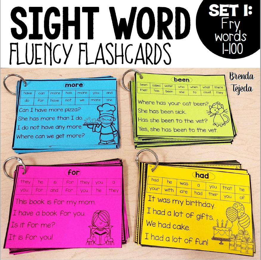 Sight Word Fluency Flashcards: FRY Words 1-100 - Tejeda's Tots