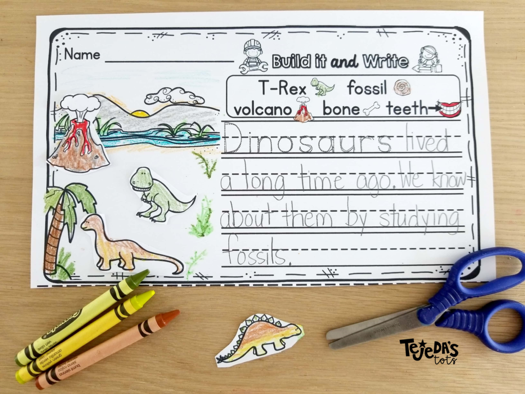 This writing activity is sure to motivate and engage your struggling writer! Kids love to build the scene before writing. The picture word bank helps with spelling and story ideas! Perfect for centers in kindergarten and first grade.