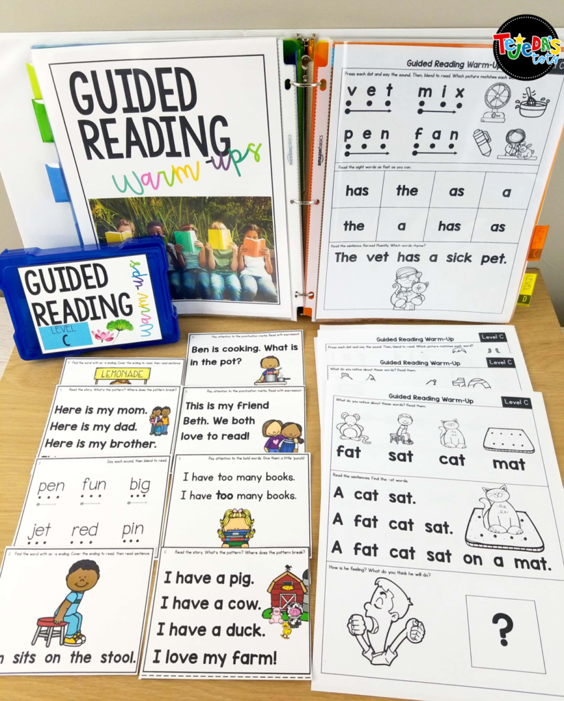Warm up for guided reading with these guided reading toolkits! Perfect to review a few important reading strategies and skills before jumping into your book. The kit includes 1-page warm-ups and skill cards for each level! #tejedastots #readingstrategies #guidedreading