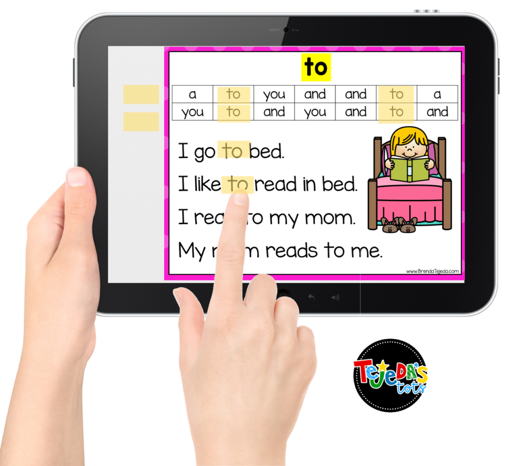 Digital sight word fluency flashcards are such a great way for kids to practice reading their high-frequency words! Students review the previously-covered words in the editable fluency word bank, read the story with the target word, and highlight the word with the movable strips. You can also differentiate easily and keep track of students' progress. Perfect for sight word centers in kindergarten and first grade! #tejedastots #sightwords