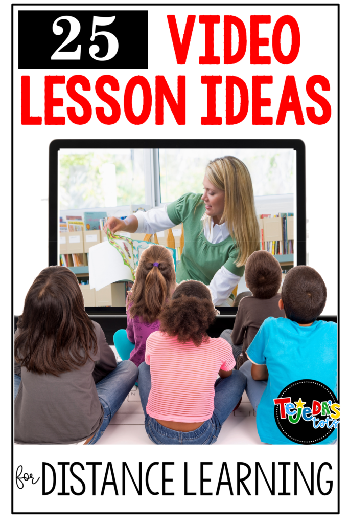 Need ideas for lessons to teach via video during distance learning? Here are 25 + ideas and tips on teaching virtually, including activities, organization, management, and ideas for making it fun! Includes a freebie too! Perfect for kindergarten and first grade students to do at home. #tejedastots #tptdistancelearning