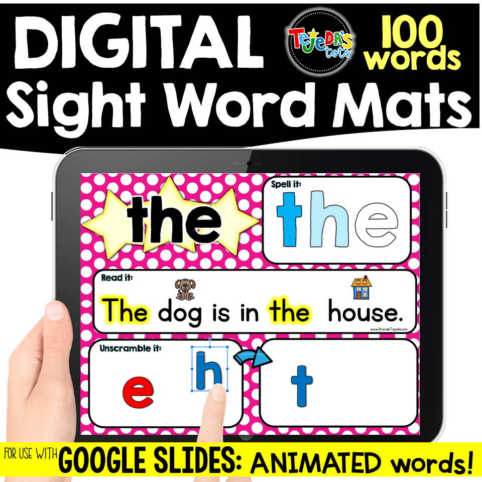 Digital sight word mats that animate! Kids can spell each word out loud as the letters get colored in one at a time. The sight word is also included in context, with picture supports to help kids focus on the target word. Students also move letters to unscramble and build the sight word! Perfect for sight word centers in kindergarten and first grade! #tejedastots #sightwords
