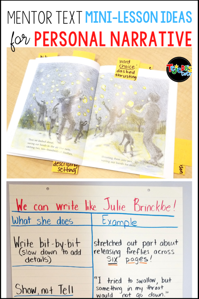 This book makes a great mentor text for a personal narrative genre writing unit! Kids can relate to Fireflies by Julie Brinckloe and use some of the strategies she uses to revise their writing workshop stories. Read this post for mini-lesson ideas, an anchor chart, and freebie for Show, not Tell! Great for kindergarten and first grade.