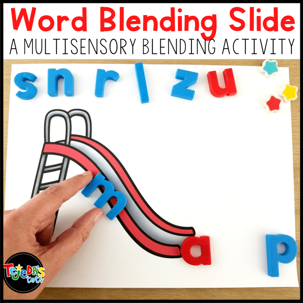 If your kids struggle with blending sounds, this word slide activity is a great multisensory way to help them learn to hear and blend sounds accurately. Perfect for helping your kindergarten and first-grade students with decoding.