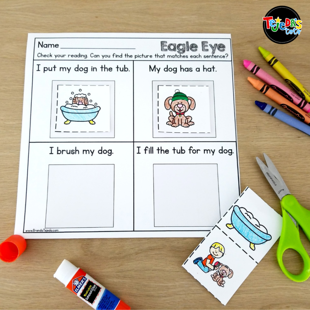 In this activity, kids read the sentence and cut and paste the picture that matches it. It's a great way to practice Eagle Eye as a comprehension strategy in kindergarten and first grade. Read the blog post for a close look at my Eagle Eye reading strategy resource.