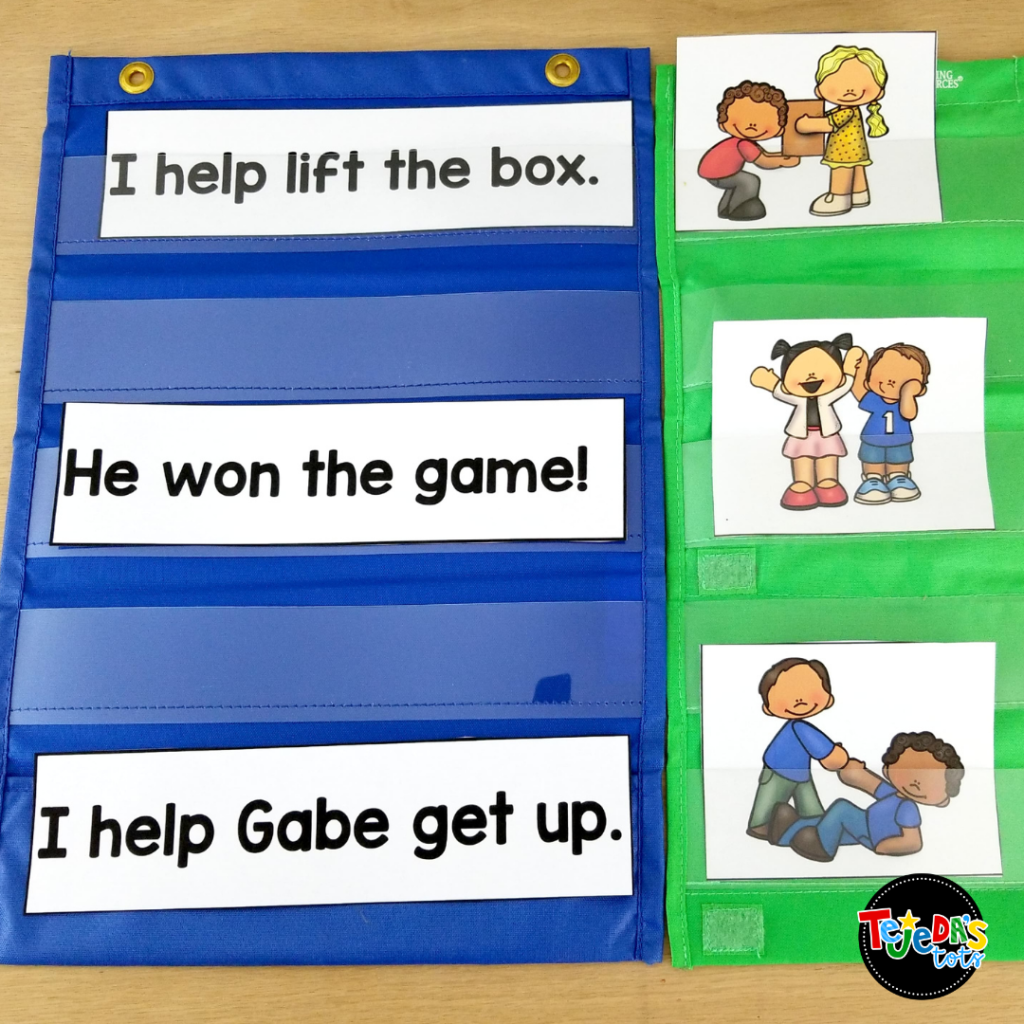 In this activity, kids read the pocket chart sentence and find the picture that matches it. It's a great way to practice the Eagle Eye comprehension strategy in kindergarten and first grade. Read the blog post for a close look at my Eagle Eye reading strategy resource.