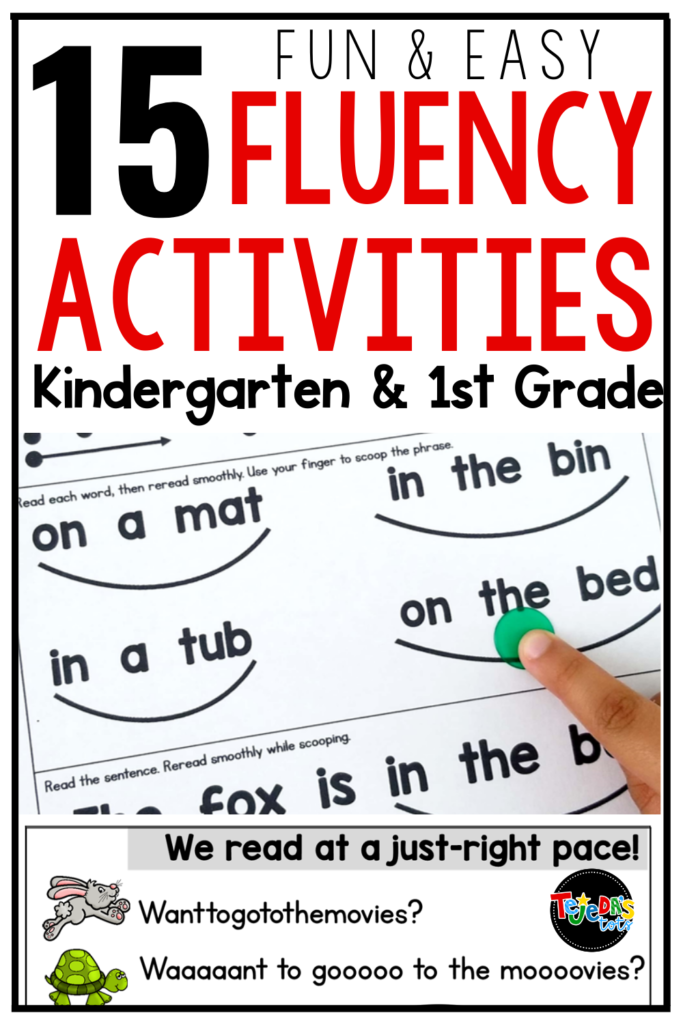 Fluency is reading at a just-right pace, with accuracy and expression. It can be hard to get kids to read fluently, especially in kindergarten and first grade. Read these 15 fluency activities to help your students read smooooothly!