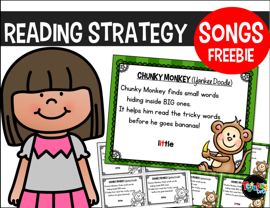 Grab this Chunky Monkey reading strategy freebie! It includes a fun little song to help your students remember this decoding strategy when reading. Perfect for beginning readers in kindergarten and first grade!