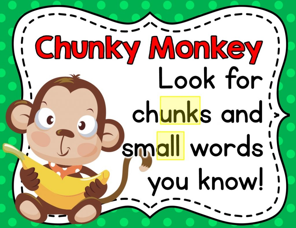 My favorite reading strategy to teach is Chunky Monkey! I always start with a slideshow to introduce the strategy, then follow up with activities to practice chunking words. This is a great decoding strategy for beginning readers in kindergarten and first grade. The Chunky Monkey character and song make it super fun and easy for kids to remember.