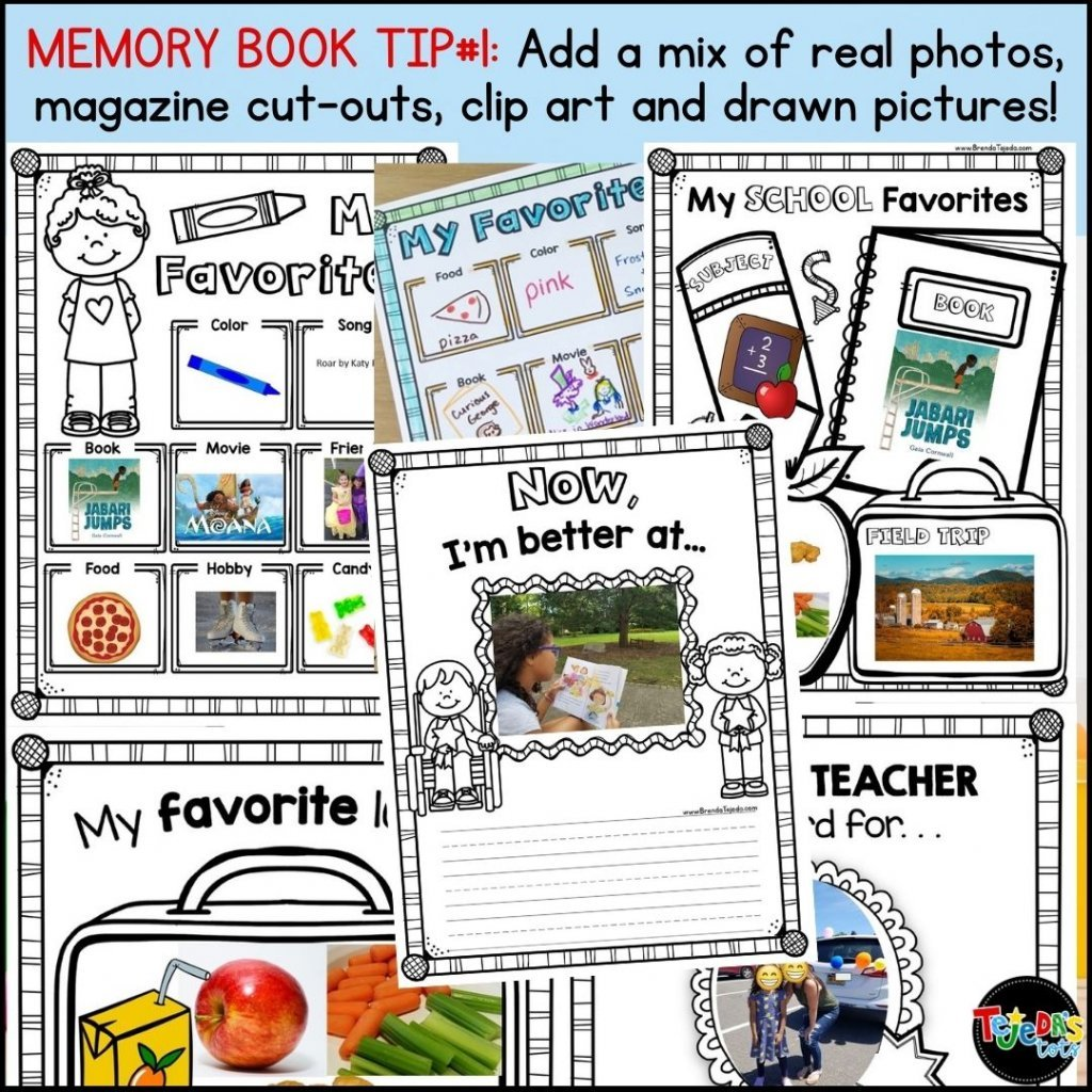 One of the ways you can make your end-of-year memory book stand out is by mixing up the kinds of photos! Add real photos, have kids add clipart, draw their own pictures, or cut out pictures from magazines!