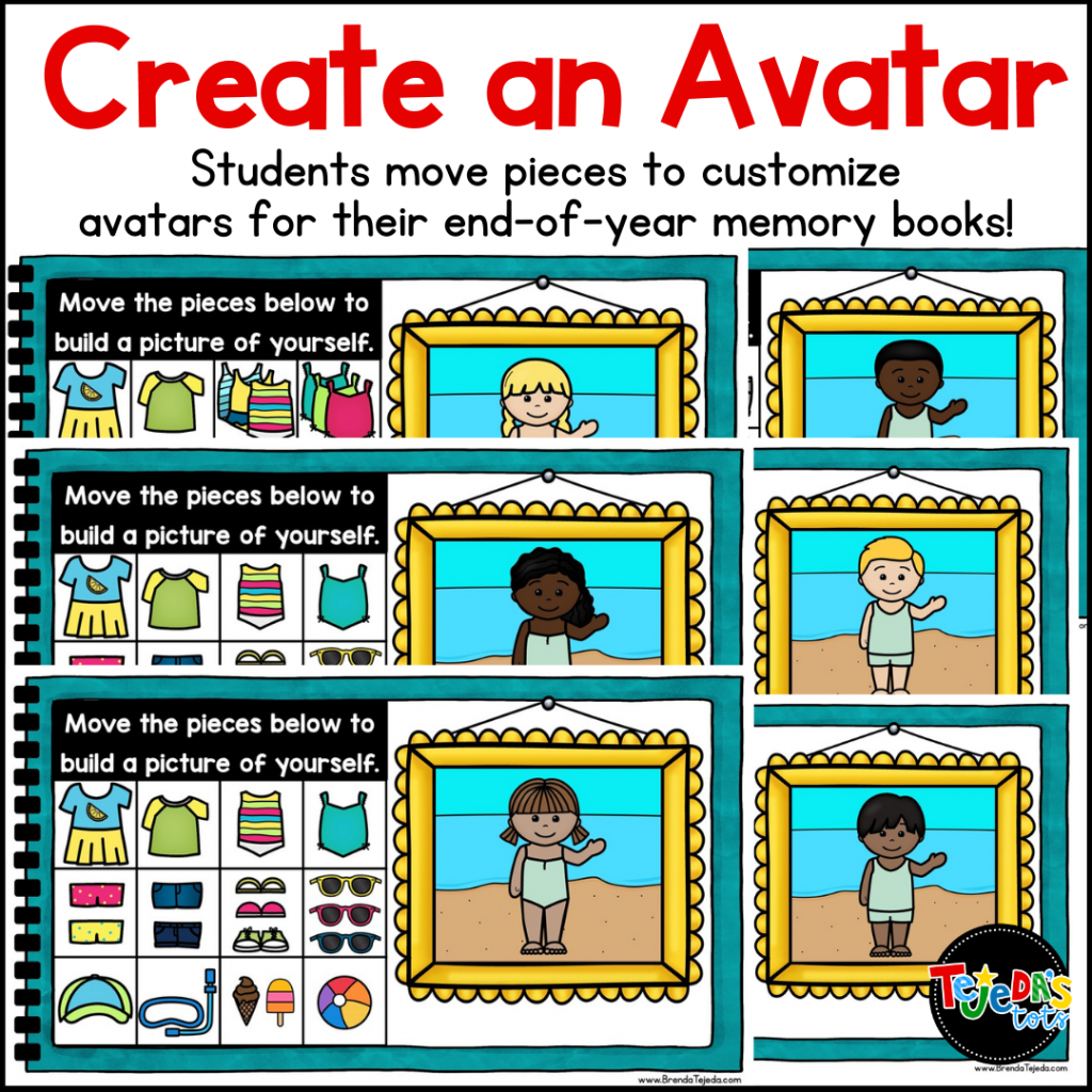 One way to make your end-of-year memory book unique is to have your students build their own avatar! They move the digital pieces to create a representation of themselves, then draw their favorite place around them. These come out so cute! A memory book is just the perfect way to end the year. Mine is printable and digital for Google Slides and Seesaw!
