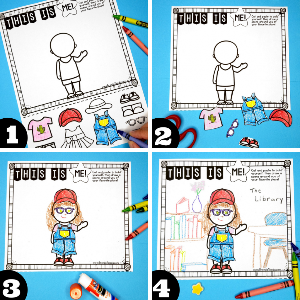 One way to make your end-of-year memory book unique is to have your students build their own avatar! They cut and paste the pieces to create a representation of themselves, then draw their favorite place around them. These come out so cute! A memory book is just the perfect way to end the year. Mine is printable and digital for Google Slides and Seesaw!