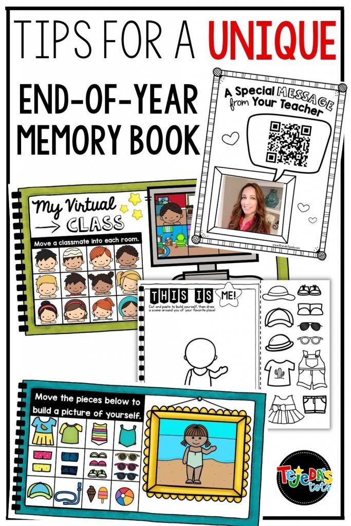 A memory book is the perfect way to end the year! Here are my best tips for a unique one with your students: Add an audio message, build an avatar, remote learning pages...read all the tips here! My end-of-year memory book is printable and digital for Google slides and Seesaw.