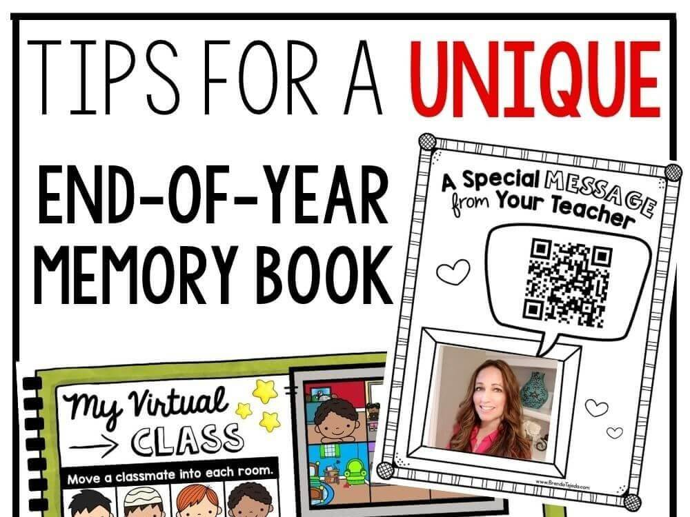 A memory book is my favorite way to end the year with a keepsake. Start early and have your students do one page a day. It makes a great project for the end of the year. Read more end-of-year activities for kindergarten and first grade!