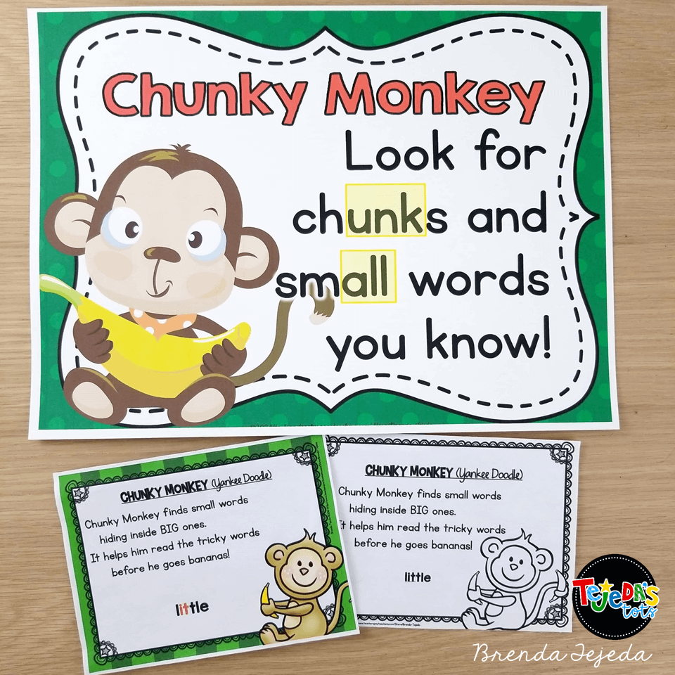 Introduce Chunky Monkey! This was hands-down my students' favorite reading strategy to learn and use. Once I introduced finding small words and chunks, my students would point them out everywhere! Add in a fun little song and Chunky Monkey was engraved in their memories.Grab the free Chunky Monkey song here.