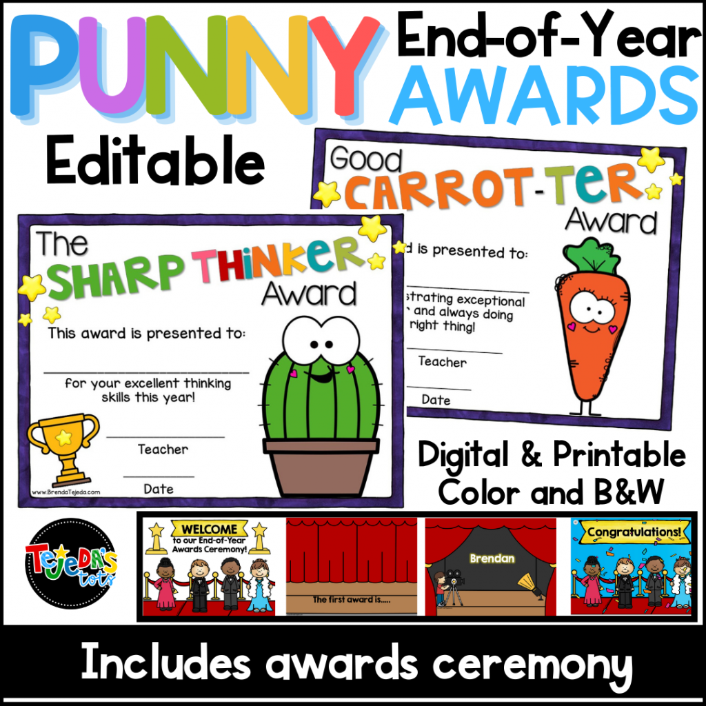 End the year with an awards show ceremony! Hand out these unique and punny awards to your students and they will giggle and beam proudly. Read the post for more end-of-year ideas and tips!