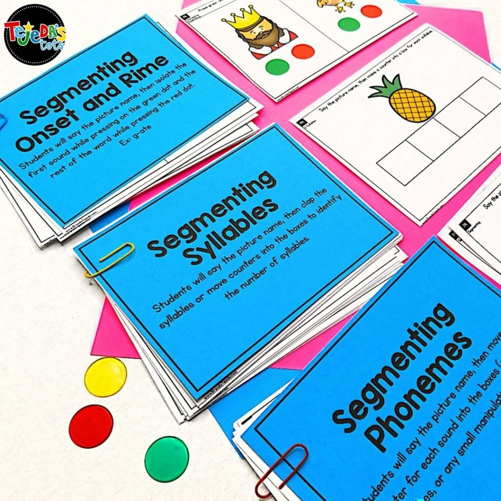 These skill cards are part of my Phonological Awareness Bundle, which is full of activities to help your kindergarten and first-grade students develop essential phonological and phonemic awareness skills, necessary for reading and writing.
