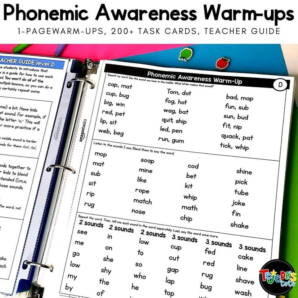 These phonological awareness warm-ups are a quick way to practice essential phonemic awareness skills during guided reading. Simply turn to a page and do the 3 quick activities verbally. Skill cards for blending, segmenting, rhyming and more are also included to make it fun!