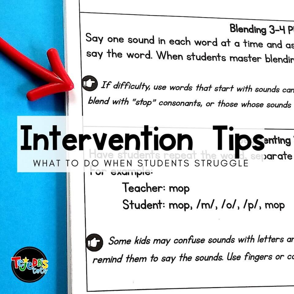 I included intervention tips for each activity in my Phonological Awareness Bundle! These will give you ideas to try when students struggle with any of the skills.