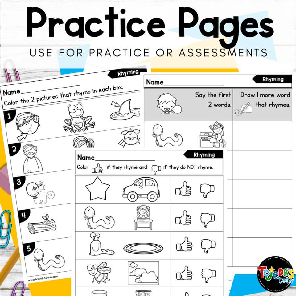 These practice pages are great for practicing phonological and phonemic awareness skills! Use them at a center, morning work, or a quick informal assessment in kindergarten and first grade. Read this post for fun ideas to practice phonemic awareness.