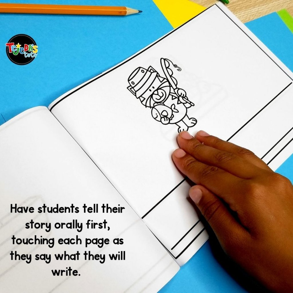 Have students tell their story orally first, then tap each page as they say what they will write on that page. Have them repeat the sentence a few times, then write it. These wordless books are great for building confidence in your emergent kindergarten and first-grade writers!