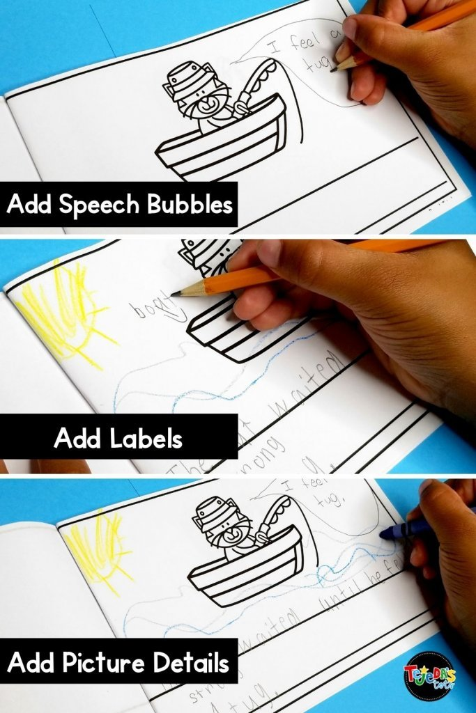 After students complete their mini-books, they make a great tool for writing revisions. We love to add details to the picture, words, label, add speech bubbles or onomatopoeia! These simple books are perfect for emergent writers in kindergarten and first grade.
