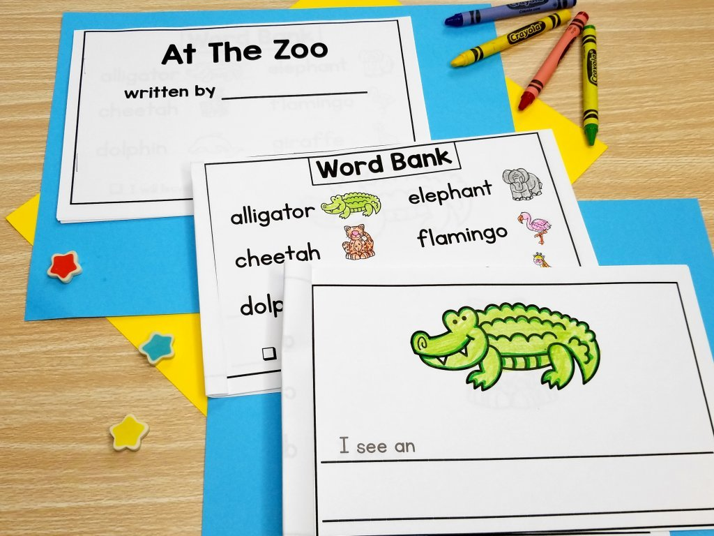 Use pattern books to help your emergent writers become more more confident. With pattern books, students have a few words they know how to write and can use spelling strategies to write additional words. These wordless books for writing are perfect for kindergarten and first-grade students.
