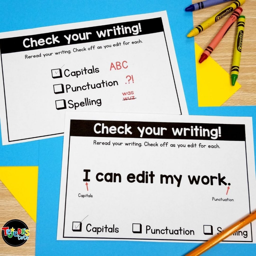 Use wordless books to help your emergent writers become more more confident. The picture word banks help kids with spelling and vocabulary. They editing checklist reminds students to use capitals, punctuation, and check their spelling. These wordless books for writing are perfect for kindergarten and first-grade students.