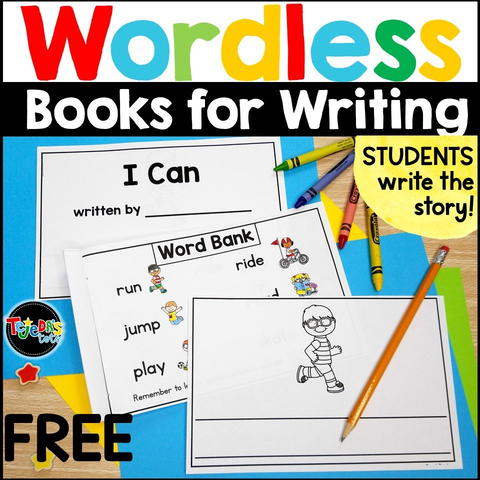 Download this free wordless book for writing! Have students tell their story orally first, then tap each page as they say what they will write on that page. Have them repeat the sentence a few times, then write it. These wordless books are great for building confidence in your emergent kindergarten and first-grade writers!