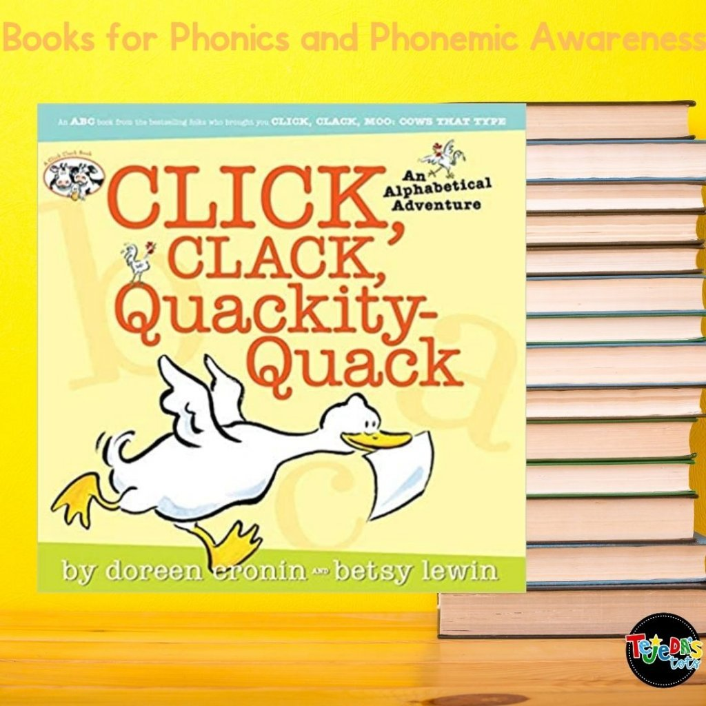 I love this alphabet book because it tells a silly story in its illustrations, it has simple text, and includes alliteration. It's fun to read and many kids are familiar with this author and series. Read this post for more great picture books for teaching phonological awareness and phonics.