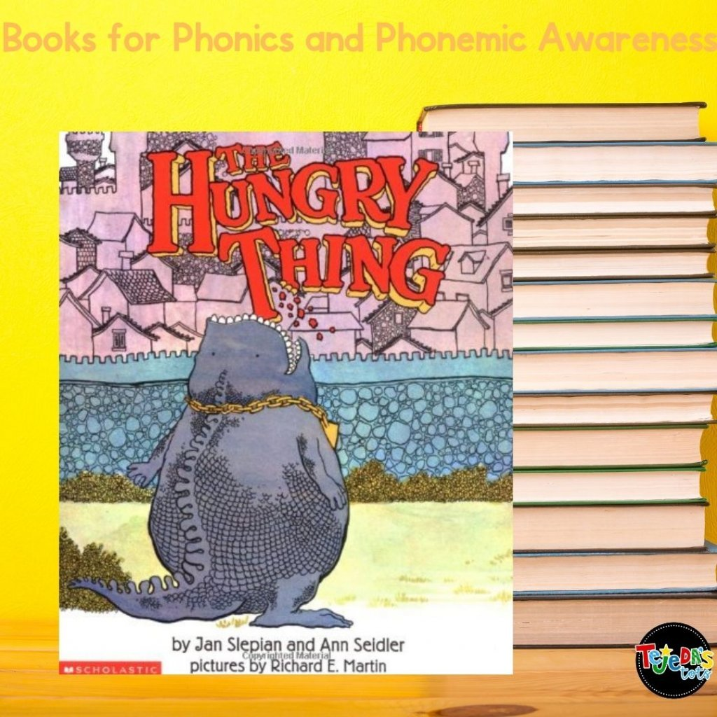 """It just might be my favorite book for phonological awareness and phonics. It is just such a cute story about a monster who switches the first sound in food names, which results in super silly words (think """"shmancakes"""" and """"wollipops"""").Read this blog post for ideas and free activities to go with this book!"""