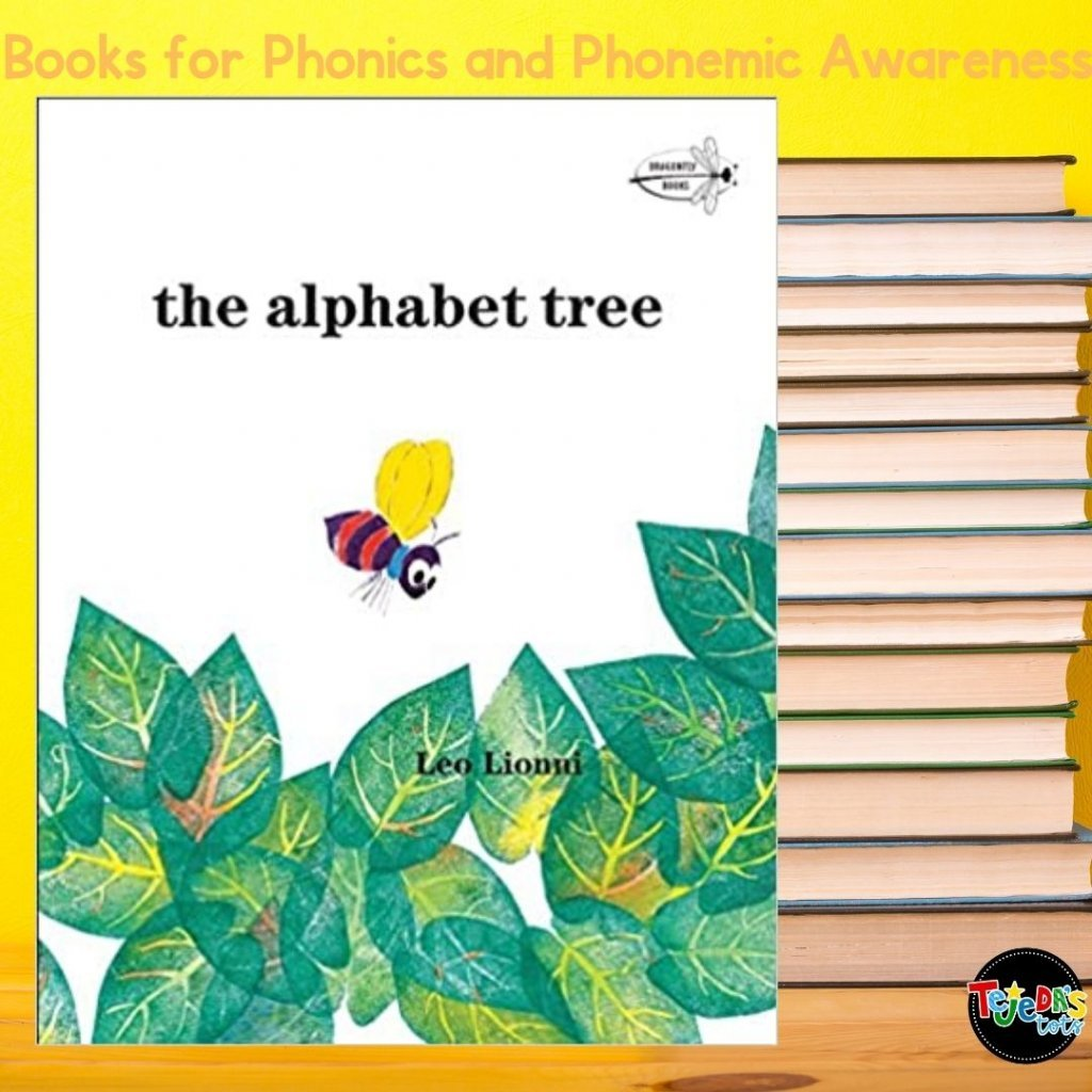 Such a classic, to teach about the concepts of print: letters make up words and words make up sentences. This book is about letters who lived in a tree that got blown all around by the wind one day. A word bug comes along and teaches the letters to come together to make words. Then, a caterpillar comes along and teaches them to put themselves together to make sentences! Read this post for more great picture books for teaching phonological awareness and phonics.
