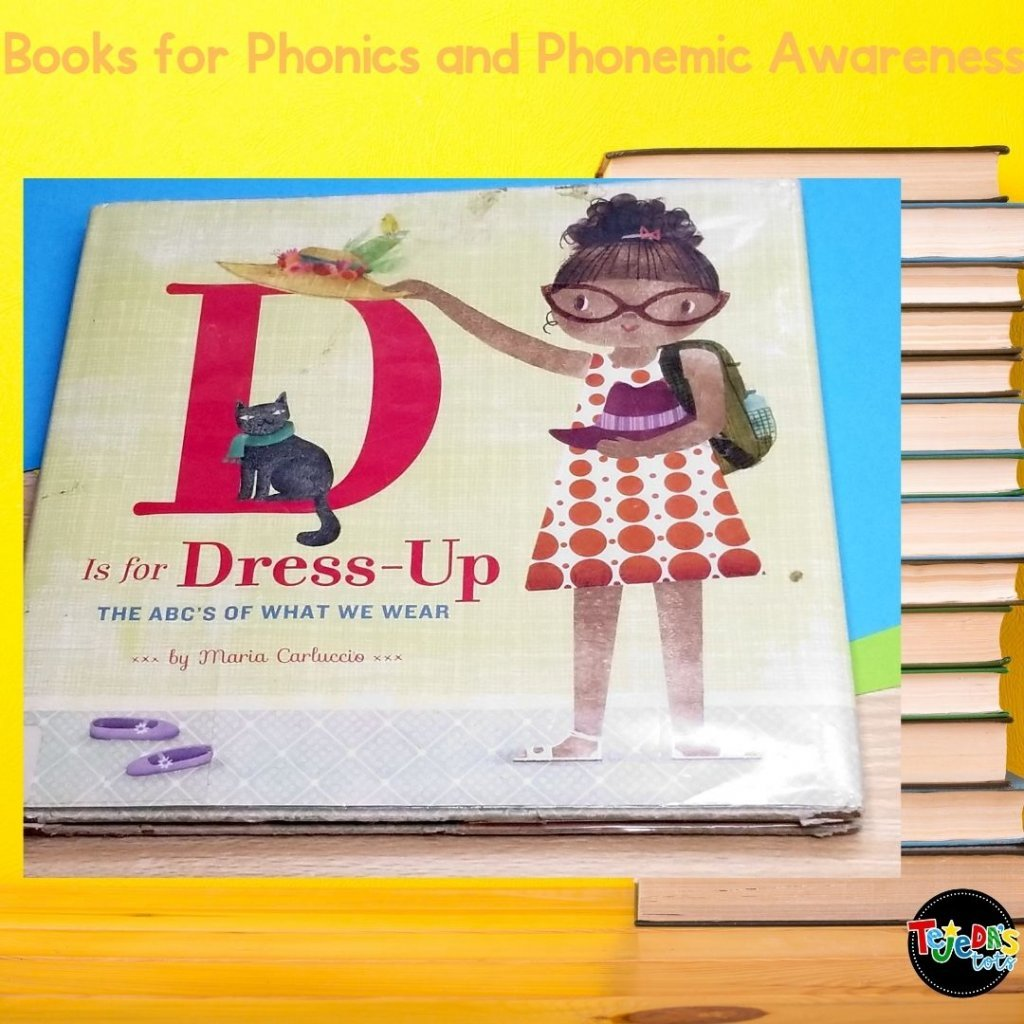 This is a simple book with a topic most kids know a lot about- clothing! So it's great to use for alliteration and have kids predict the next word based on the next letter of the alphabet. Read this post for more great picture books for teaching phonological awareness and phonics.