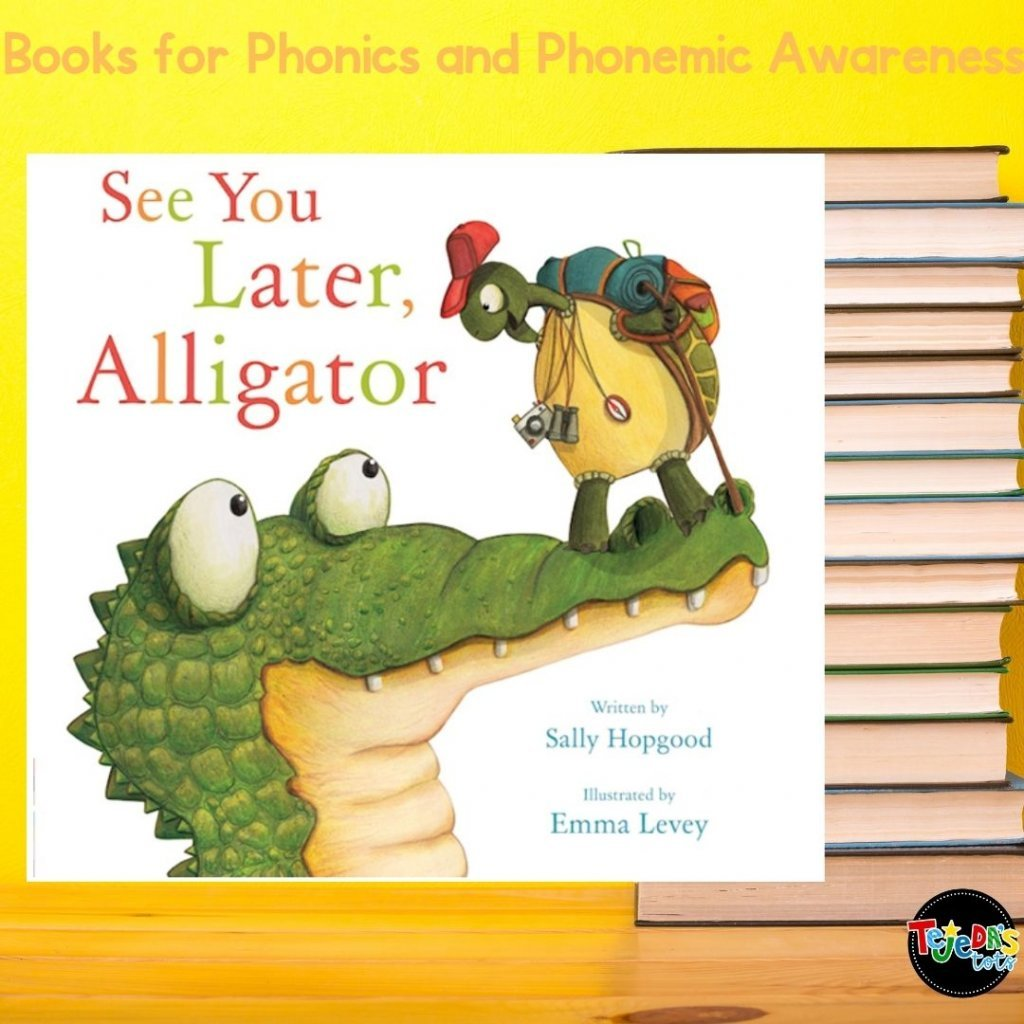 Who doesn't love a good, classic farewell rhyme? This book is full of adorable farewells as a tortoise says bye to his zoo friends to go on an adventure. Read this post for more great picture books for teaching phonological awareness and phonics.