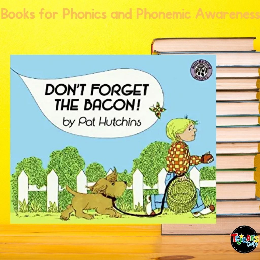 Such a funny book and soooo relatable for me, since I always forget what I went to the store for! In this book, a boy is sent to town to buy six farm eggs, a cake for tea, a pound of pears, and bacon. The boy gets distracted and starts to think of words that sound similar. So when trying to remember six farm eggs, he thinks of six fat legs or six clothes legs. Great for pointing out how the words are similar and different. Read this post for more great picture books for teaching phonological awareness and phonics.
