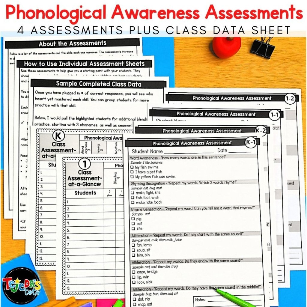 Assessing your students' phonological and phonemic awareness is important to help you plan your instruction in kindergarten and first grade. Use these simple one-page assessments to know where to begin your lessons with your students and which skills to cover.